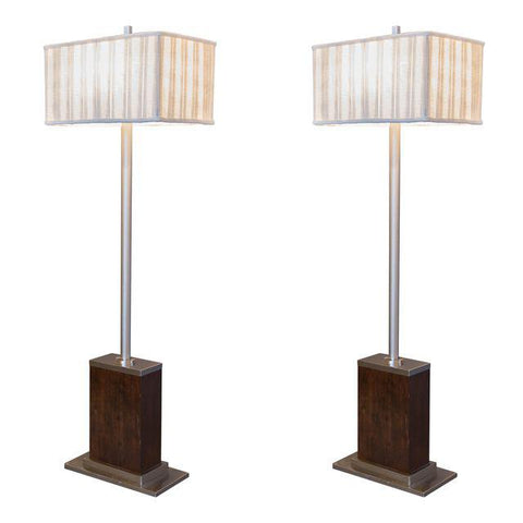Walnut and Brushed Aluminum Floor Lamps – Pair