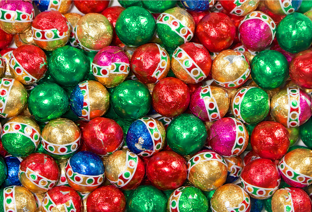 6 - 12oz Bags of Chocolate Foiled Christmas Balls - Rosalind Candy Castle