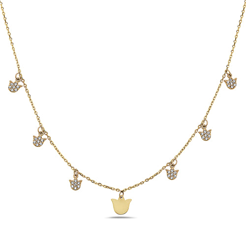 Tulips With Diamonds Choker Necklace
