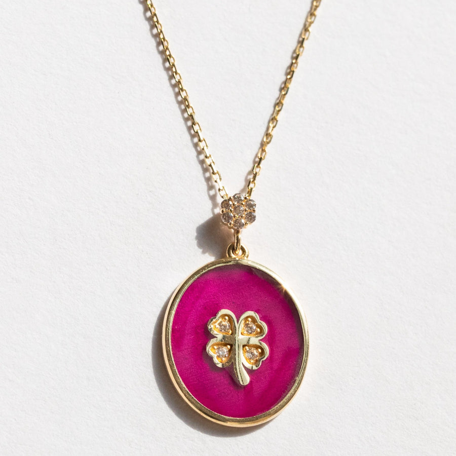 Purple Clover Leaf With Diamonds Choker Necklace