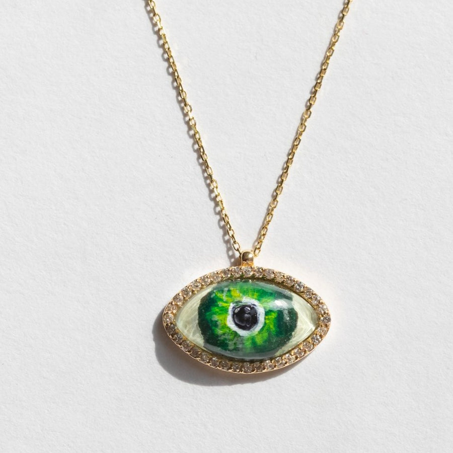 Green Eye With Diamonds Choker Necklace
