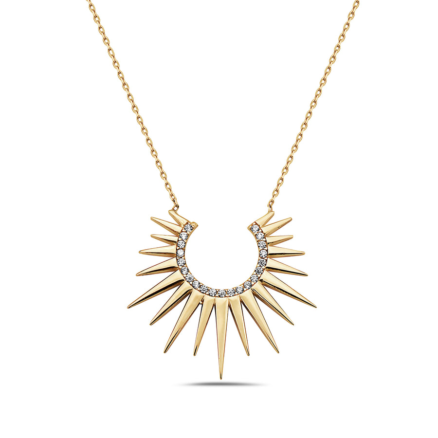 Rising Sun With Diamonds Choker Necklace