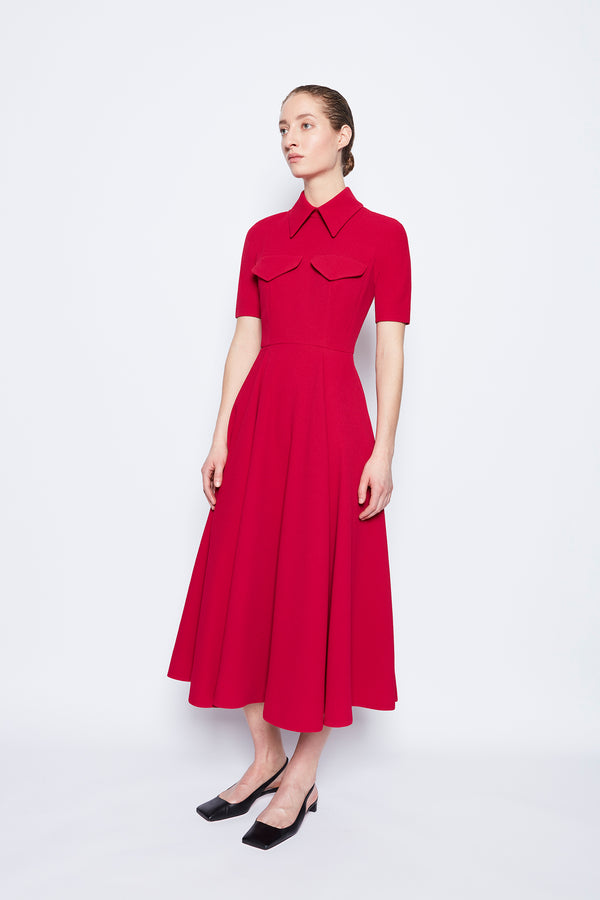 Alice Double Crepe Dress Raspberry