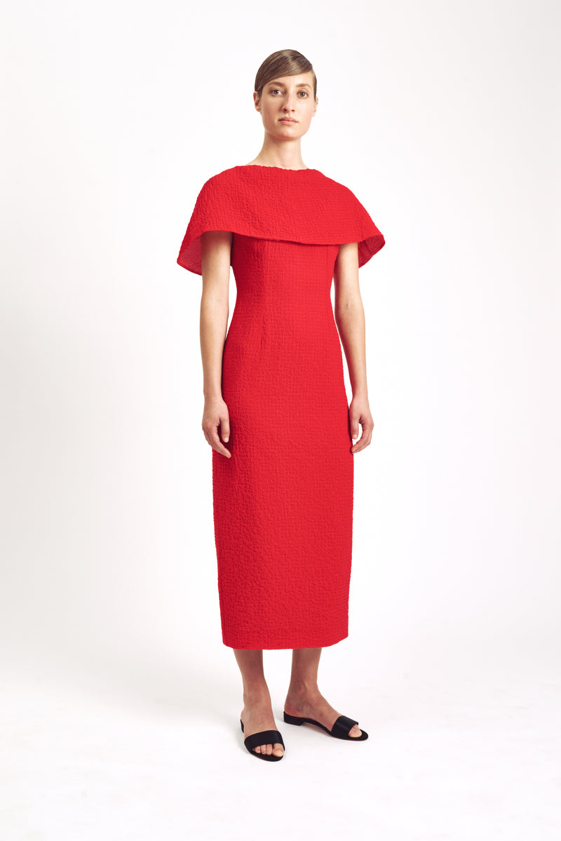Blaine Short Sleeve Straight Dress Red Cotton Cloque