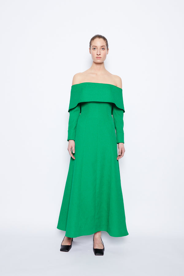 Carole Textured Cloque Dress Jade