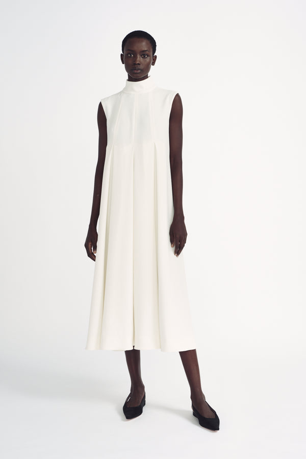 Chanty Ivory Double Cloque Sleeveless High Neck Dress - Emilia Wickstead