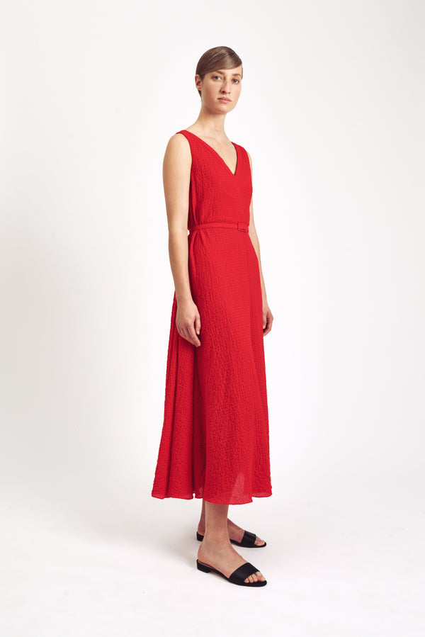 Dexter Sleeveless V Neck Dress Red Cotton Cloque