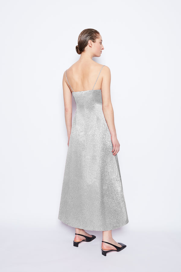 Greta Metallic Cloque Dress Silver