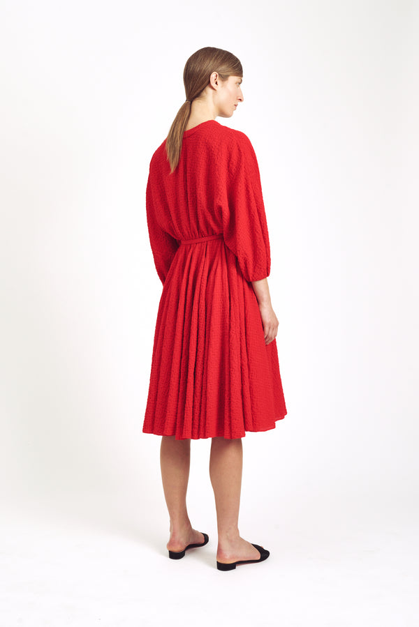Lilith Full Sleeve Dress  Red Moire