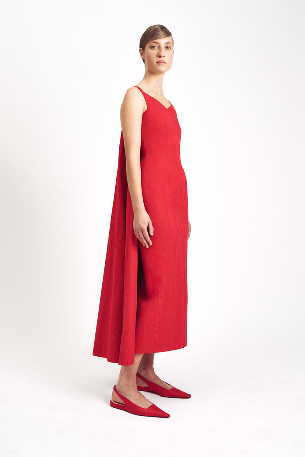 Lina Cape Dress Red Moire