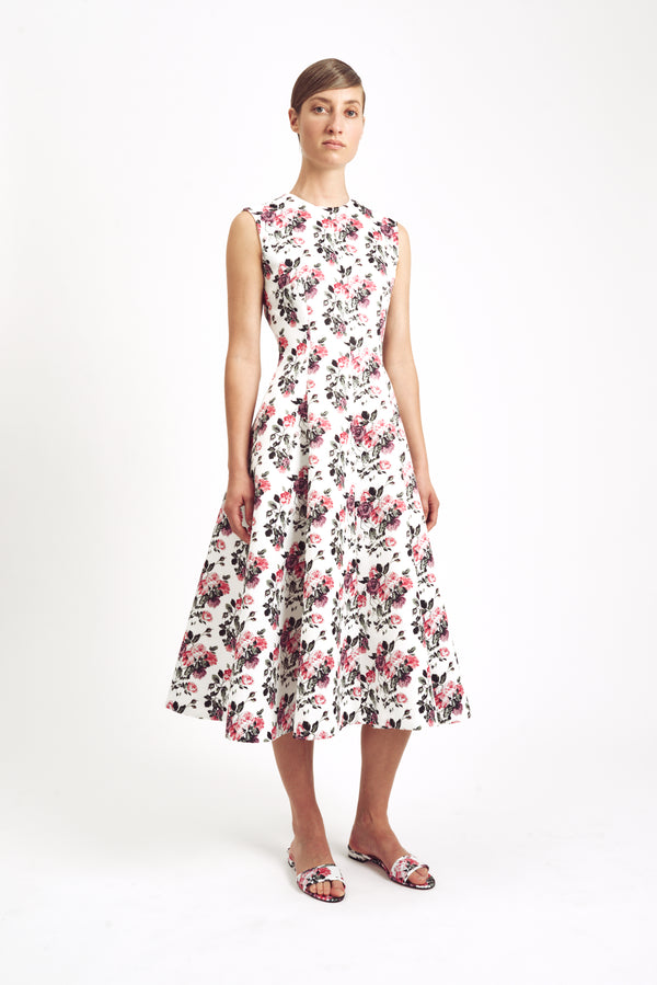 Mara Sleeveless Dress Floral Taffeta Faille