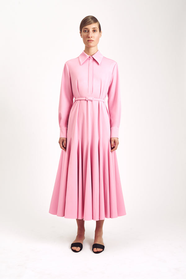 Marion Long Sleeve Dress Pink Stretch Cady