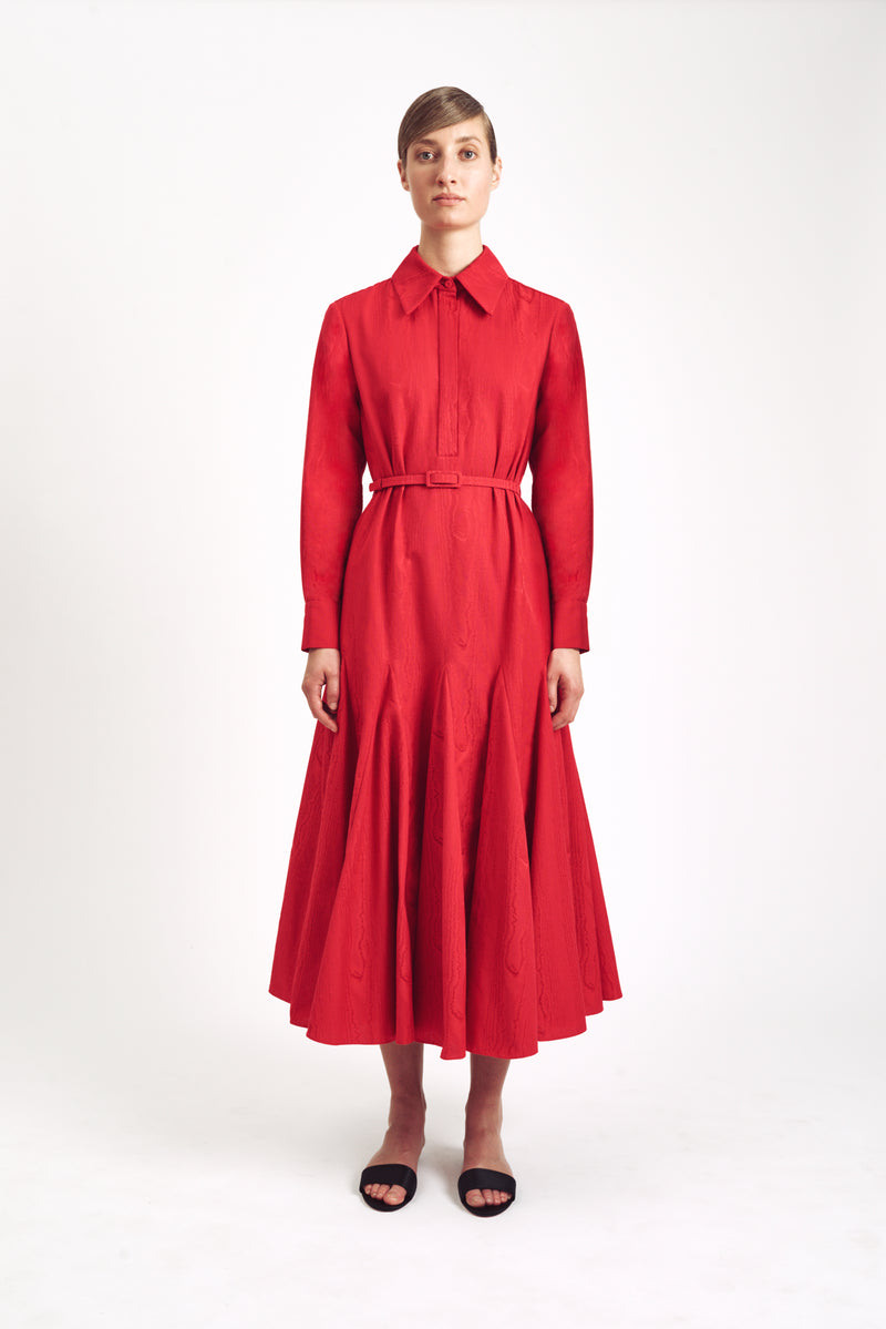 Marion Long Sleeve Dress Red Moire