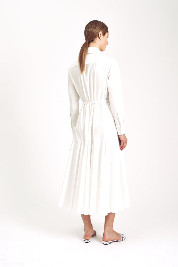 Marion Long Sleeve Dress White Italian Double Cotton