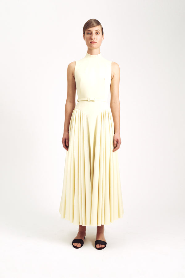 Neville Sleeveless Dress Lemon Stretch Cady