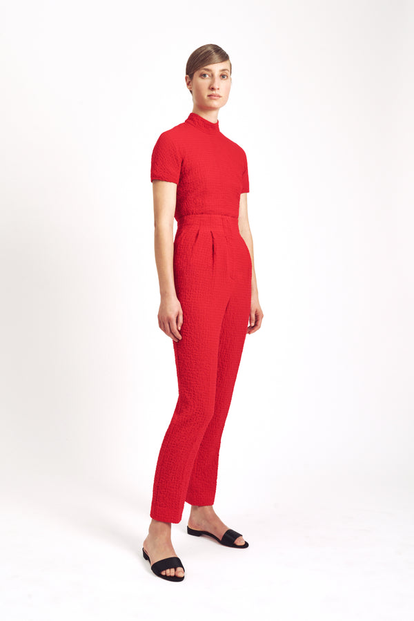 Rufus High Waist Trouser Red Cotton Cloque