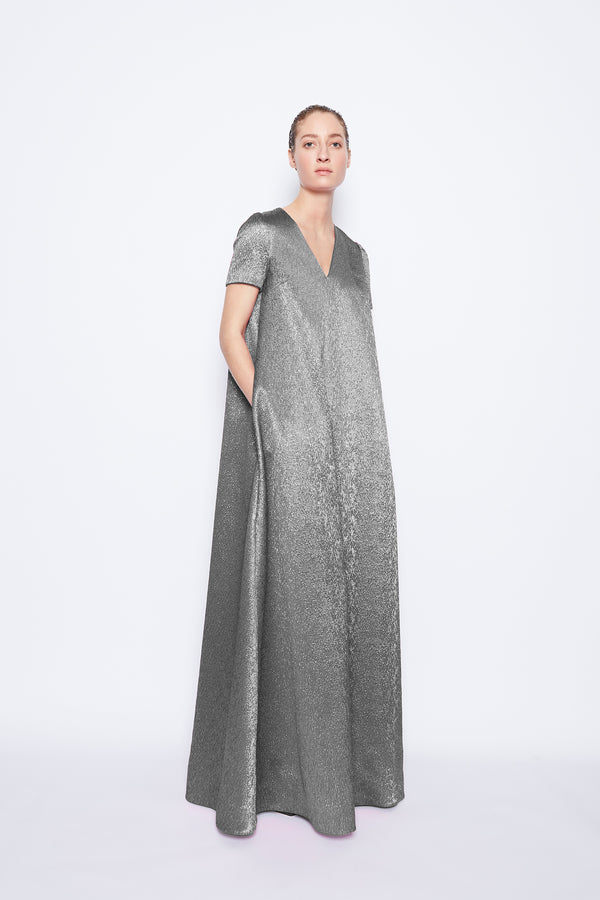 Sabrina Metallic Cloque Dress Silver Metallic Cloque