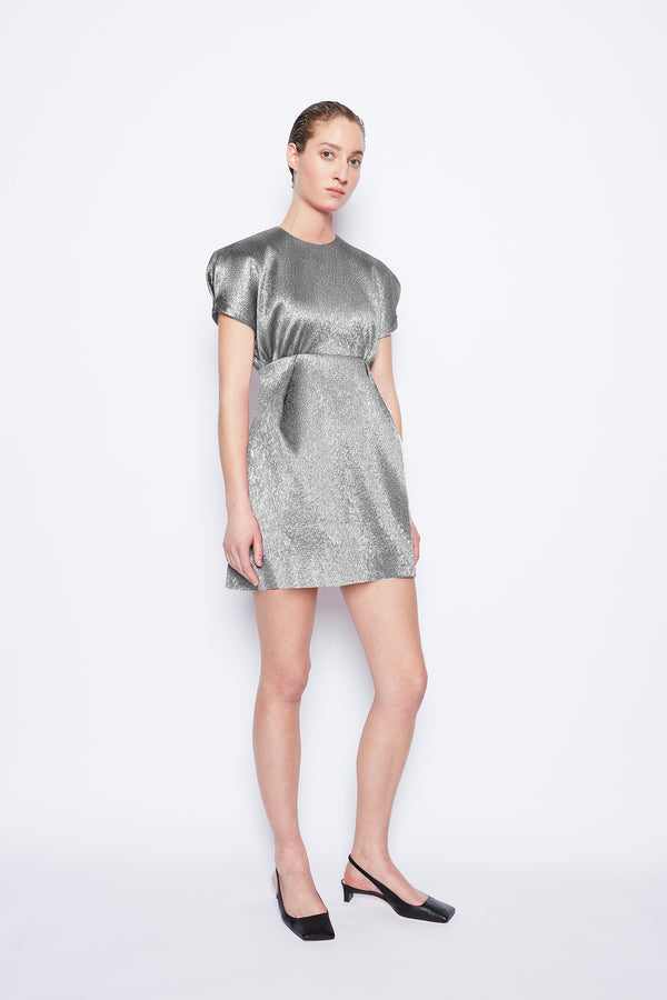 Tinker Metallic Cloque Dress Silver
