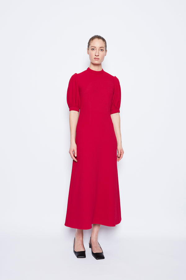 Victoria Double Crepe Dress Raspberry
