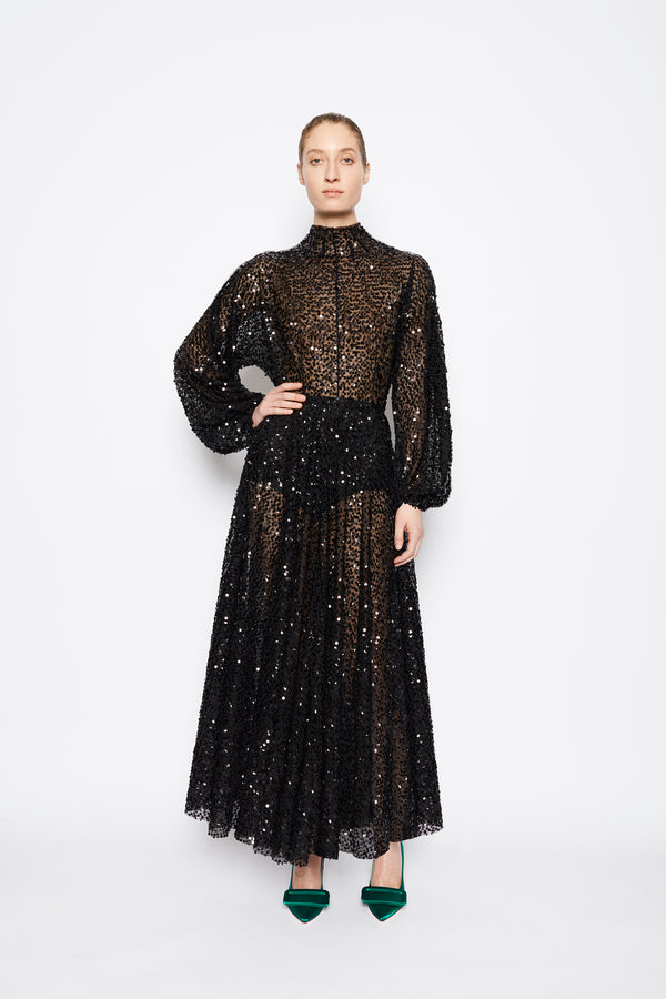 Artemis Scattered Sequin Dress Black