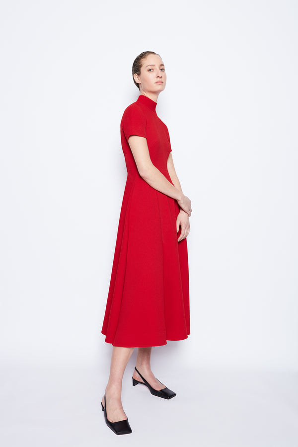 Camilla Double Crepe Dress Red