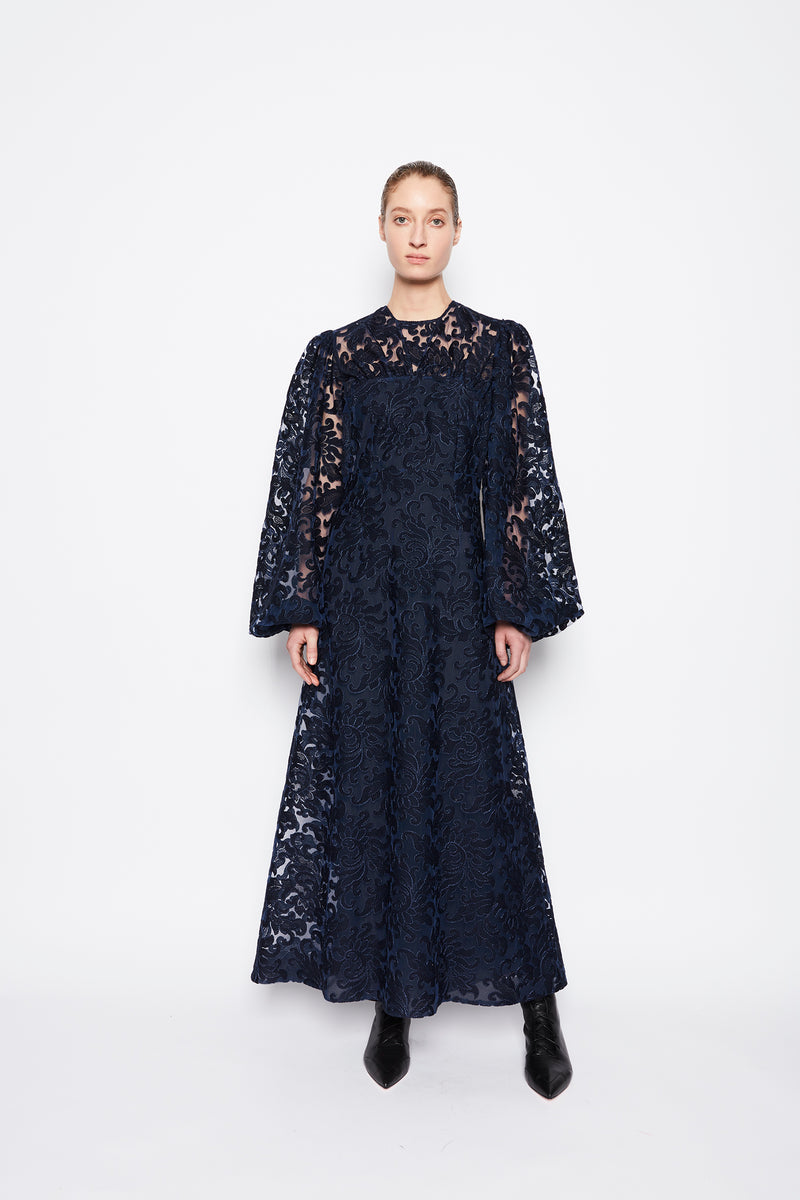 Carmelita Embroidered Lace Dress Navy Blue