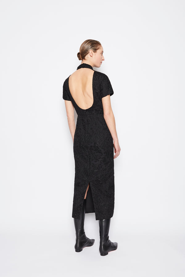 Edie Embroidered Lace Dress Black