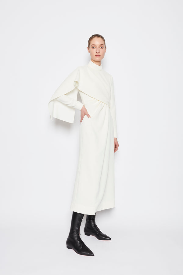Edris Double Crepe Dress Ivory