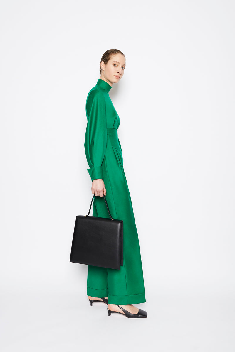 Elvina Virgin Wool Jumpsuit Emerald