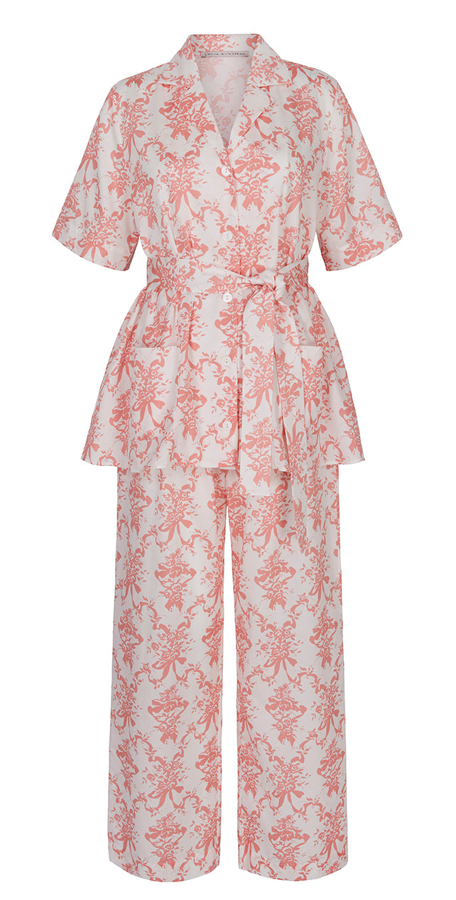 Fifi Satin Cotton Pyjama Set Pink