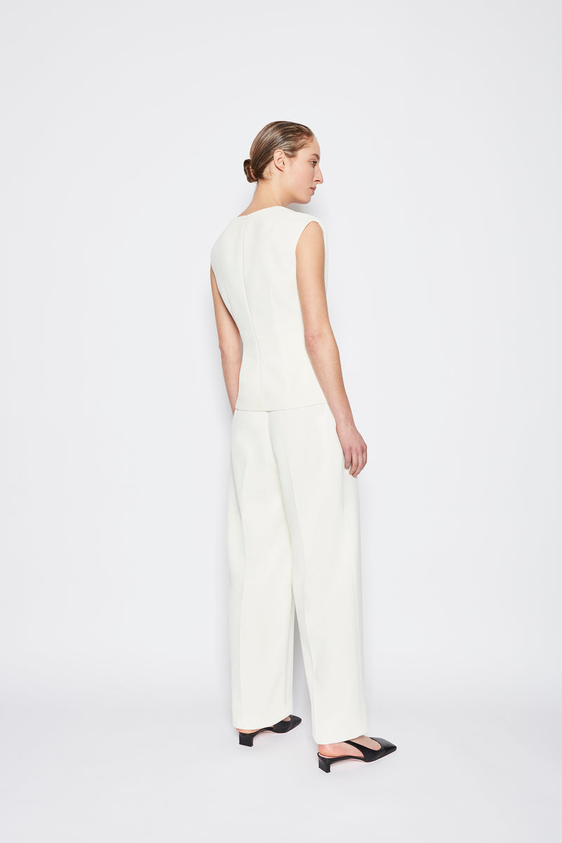 Colleen Double Crepe Trouser Ivory