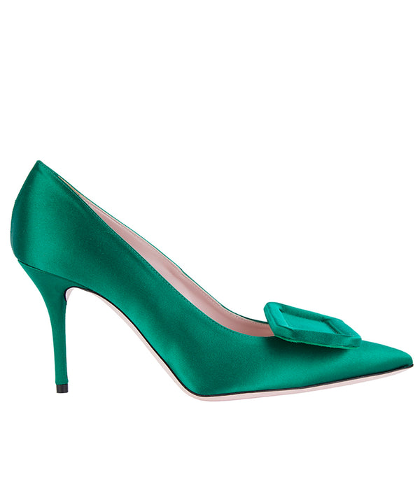 Sophia Satin High Heel Green