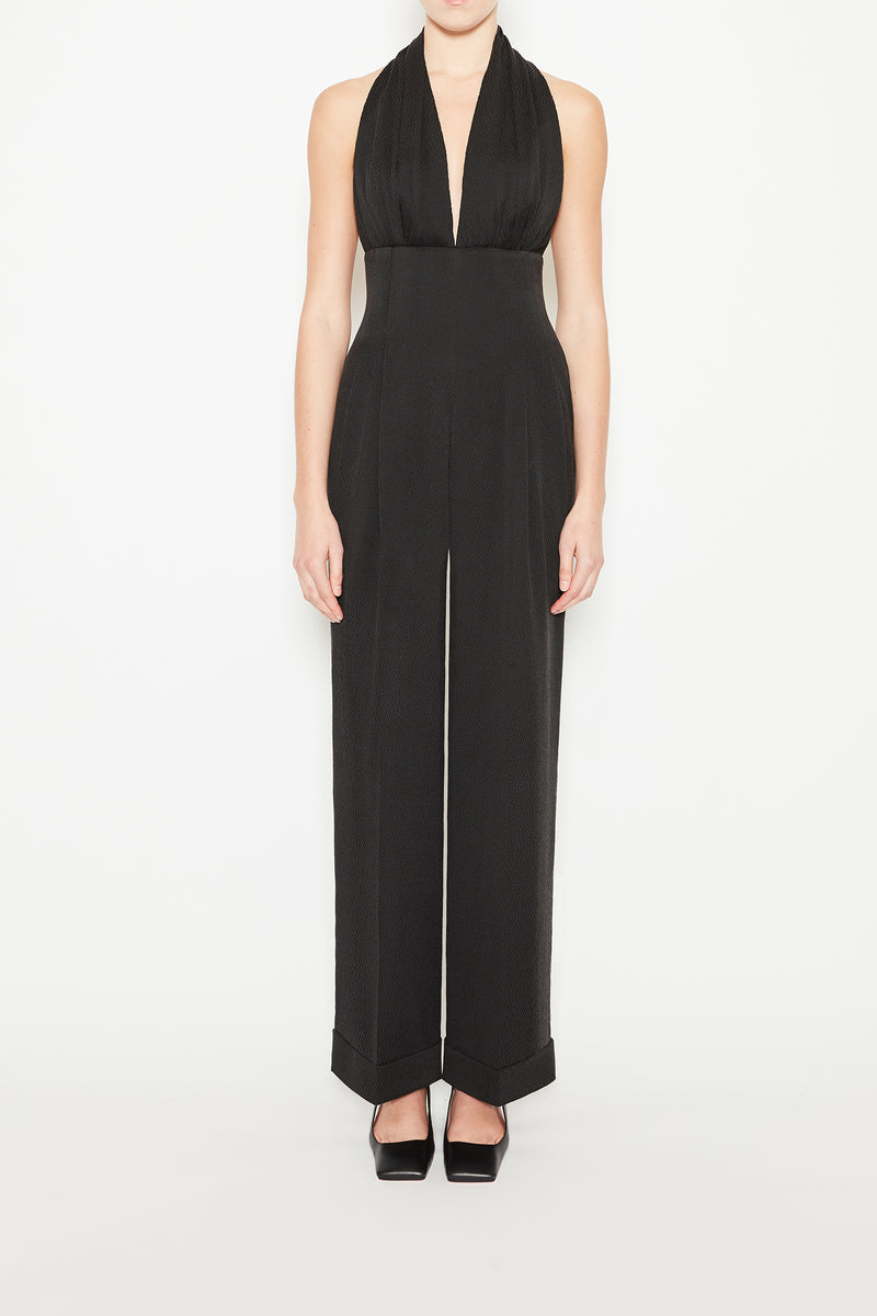 Mayara Hammered Satin Jumpsuit Black