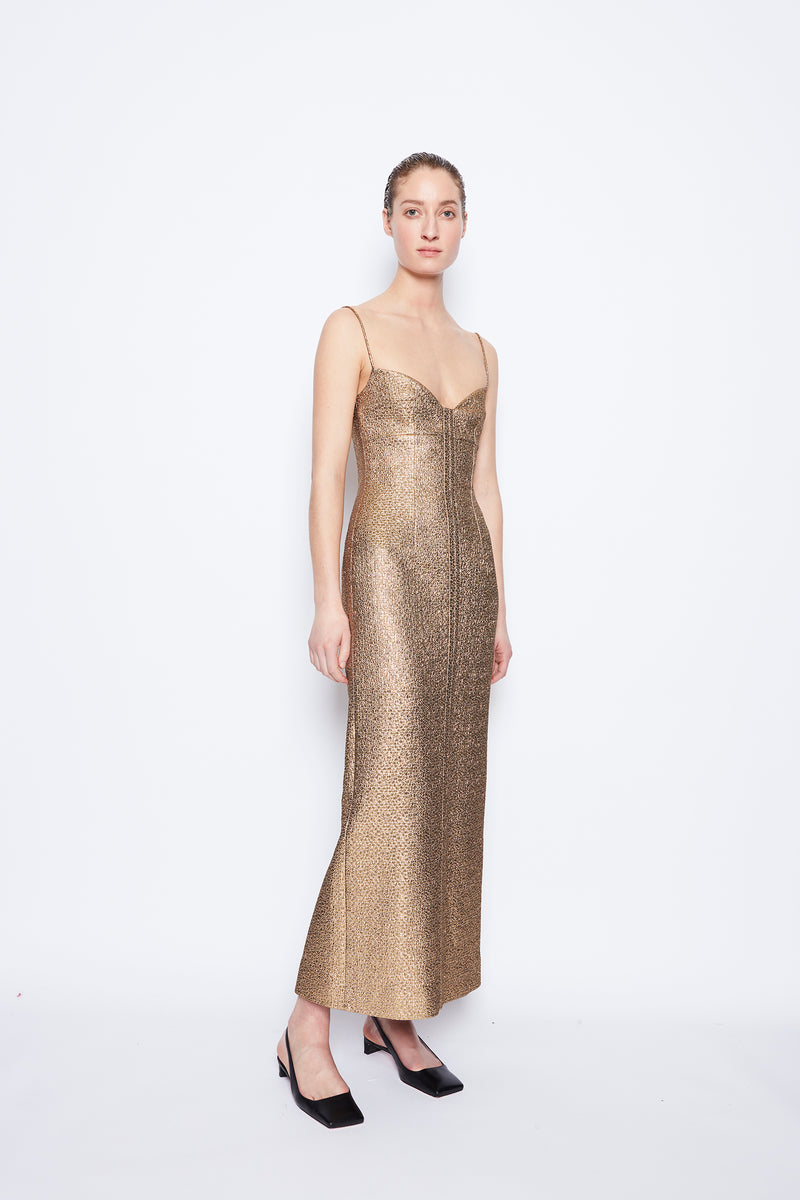 Paulette Metallic Jacquard Dress Dark Gold