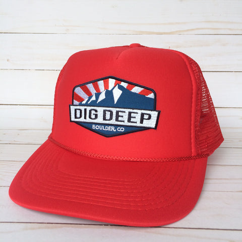 Dig Deep Logo Trucker Hat - Red