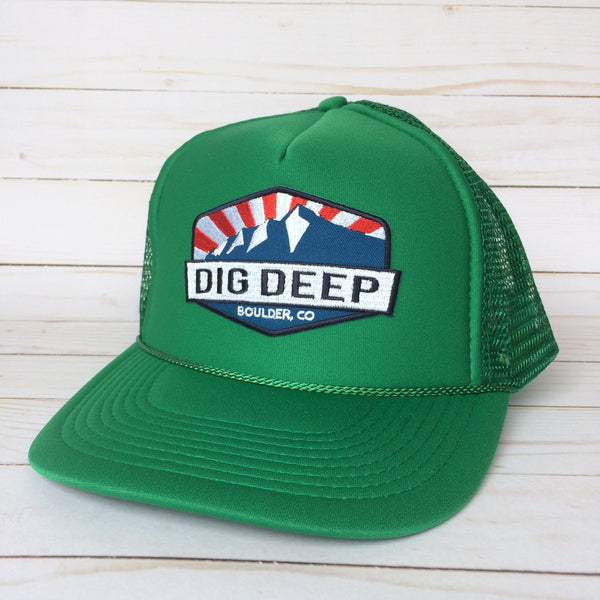 Green Trucker Hat with color dig deep logo patch