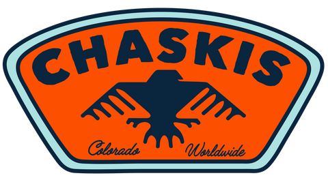 "The CHASKIS logo is a stylized condor silhouette in blue on an orange, shield-shaped field; The logo reads ""CHASKIS"" at the top and ""Colorado Worldwide"" at the bottom"