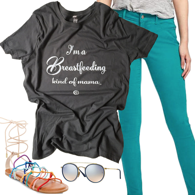 """I'm a Breastfeeding kind of mama®"" T-shirt in Gray"