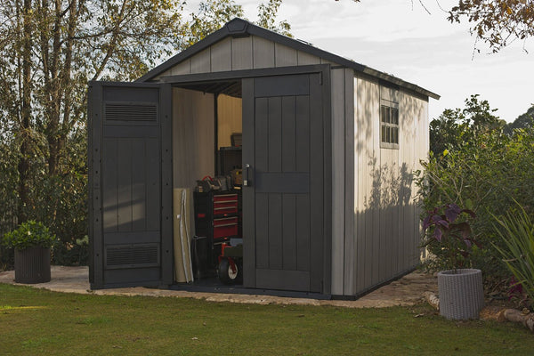 keter outdoor garden storage shed oakland wood plastic large sg 757