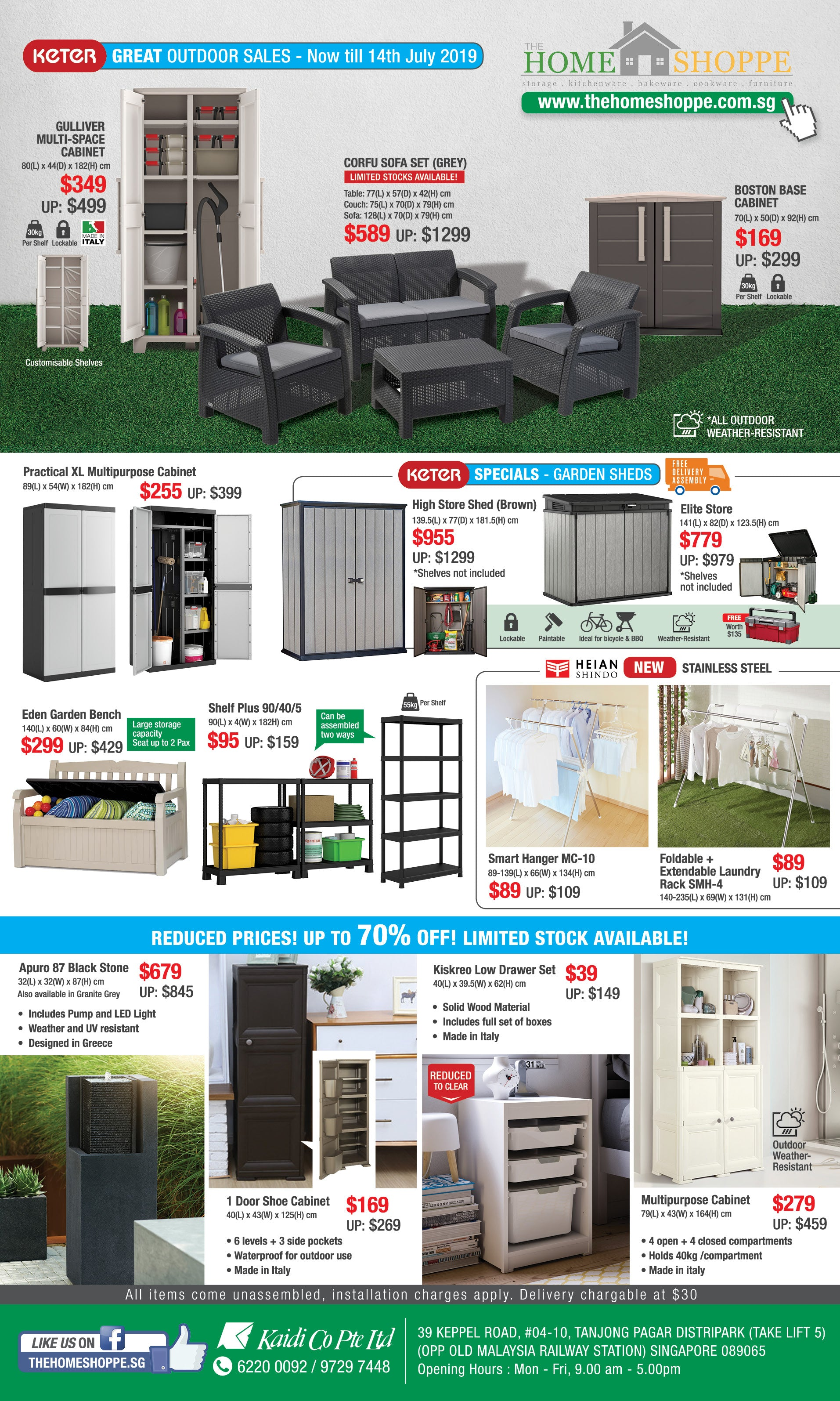 The Home Shoppe June July Sale great outdoor sales gss furniture garden shed plastic storage cabinet chair table waterproof sg laundry rack shelf water fountain