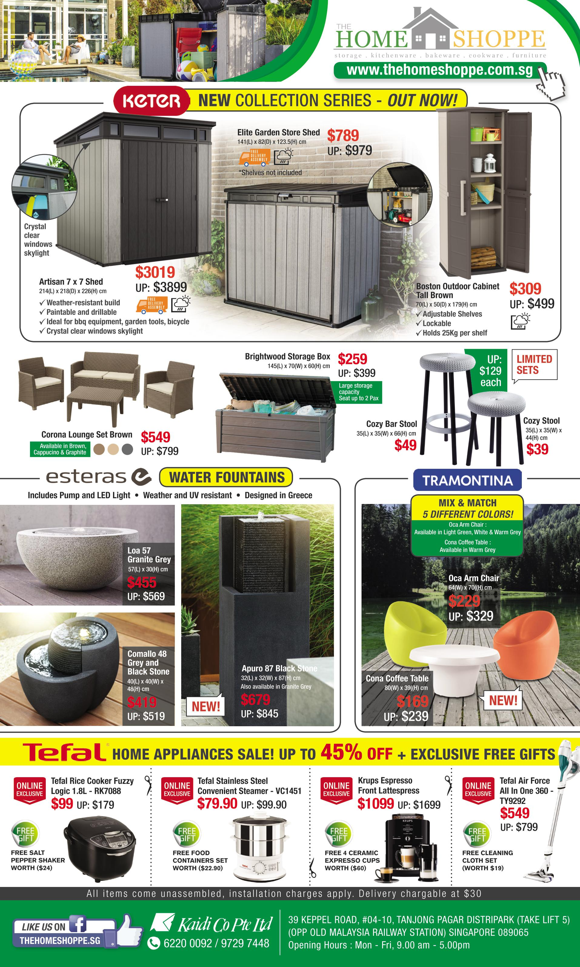 The home shoppe april sale discount garden sheds keter waterproof cabinet esteras water fountain tefal offer sg