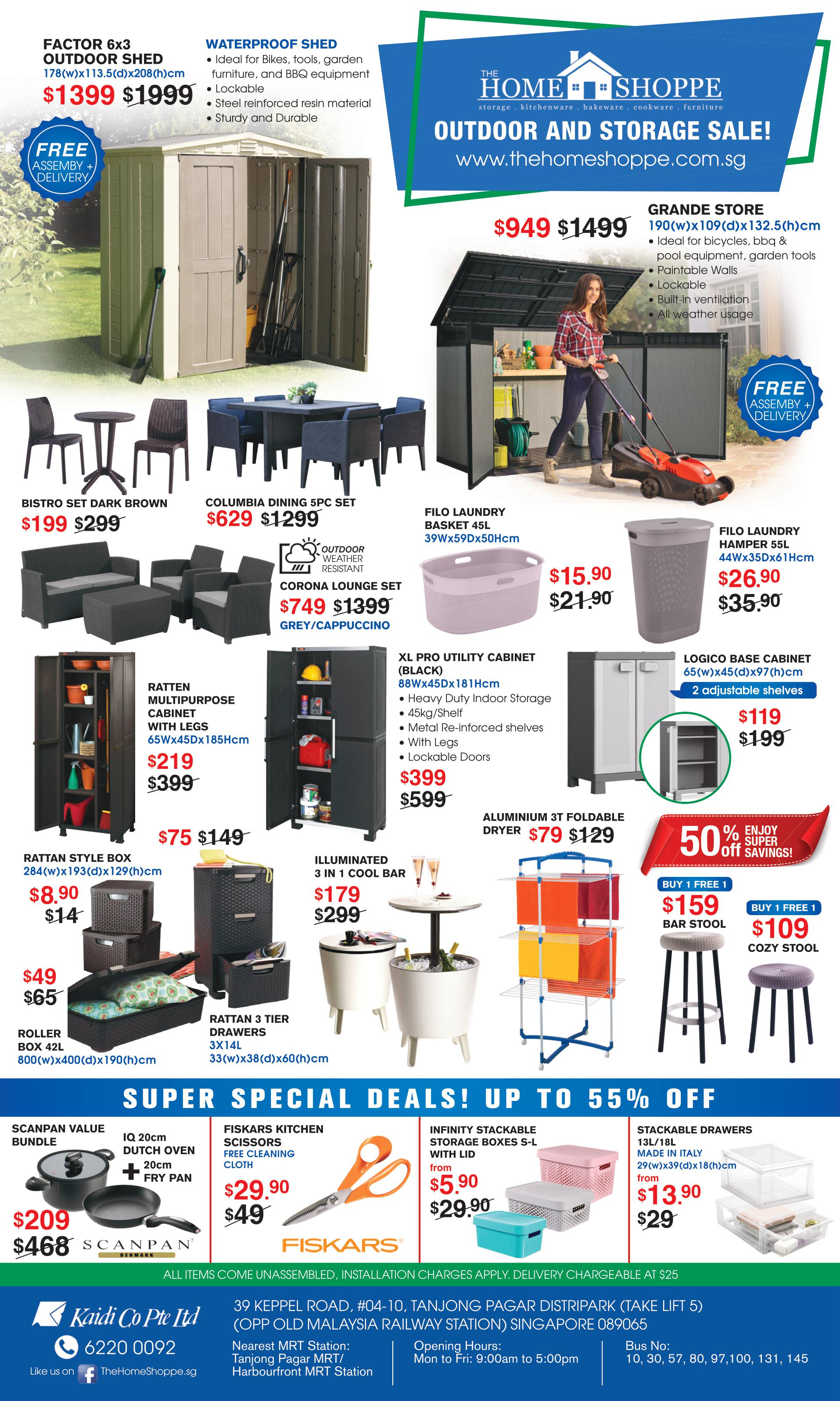 The home shoppe march april promotions outdoor shed garden furniture sofa sets indoor storage plastic cabinets cool bar laundry baskets clothes rattan style drawers boxes scanpan pots oven kitchen scissors fiskars stackable box sale cheap sg