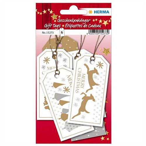 Gift tags Merry Christmas 8 x 4 cm, White (15273)