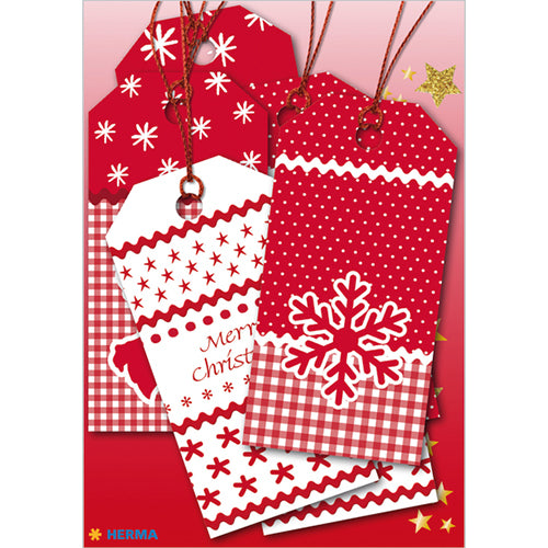 Gift Tags Christmas White Christmas 8 x 4 cm, Red (15274)