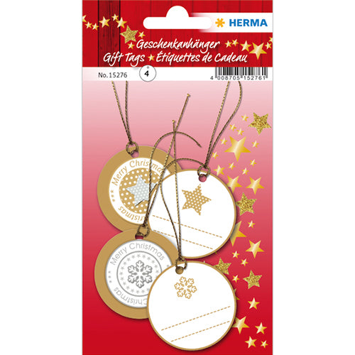 Gift Tags Christmas 3D Ø 5 cm, Gold (15276)