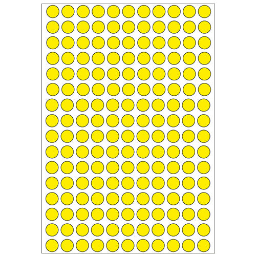 Office Pack Multi-purpose Labels Round 8mm Yellow (2211)
