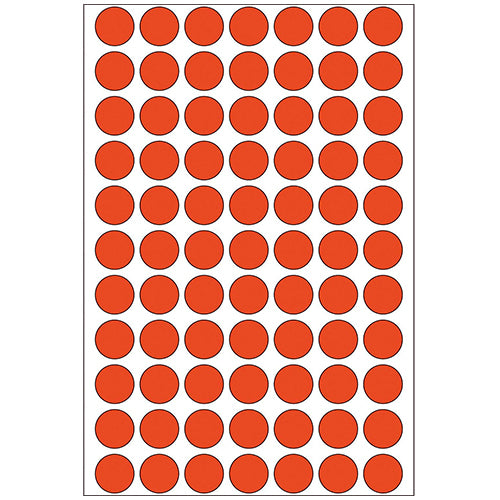 Office Pack Multi-purpose Labels Round 13mm Red (2232)