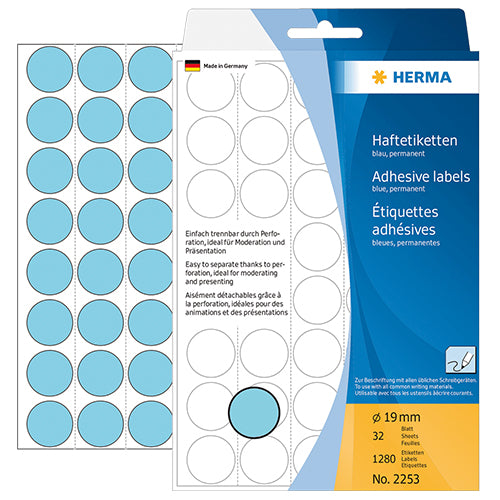 Office Pack Multi-purpose Labels Round 19mm Blue (2253)