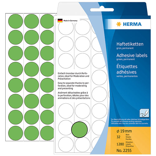 Office Pack Multi-purpose Labels Round 19mm Green (2255)