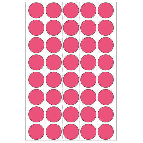 Office Pack Multi-purpose Labels Round 19mm Luminous Red (2256)